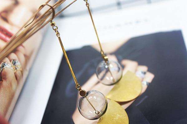 Vrouwen Sieraden Temperament Roet Glazen Bal Bubble Retro Messing Eenvoudige Dangle Oorbellen Voor Anniversary Party Gift