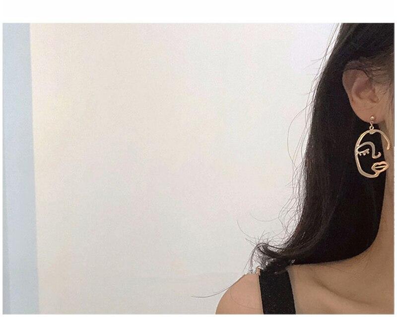 Abstract Hollow Out Menselijk Gezicht Dangle Oorbellen Legering Mode Unieke Hoofd Portret Lange Drop Oorbellen Voor Vrouwen Party Gift