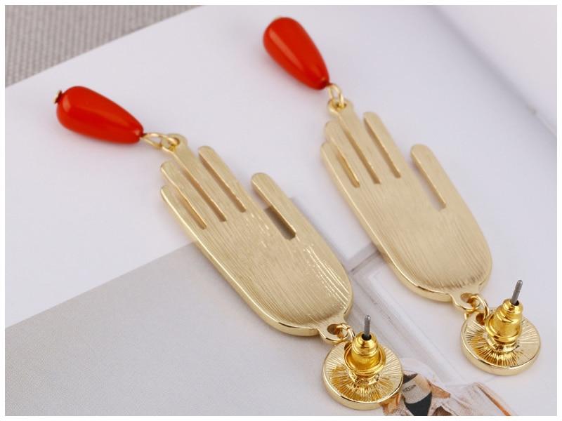 Nieuwe Geometrische Rode Nagels Plam Vormige Lange Oorbellen Voor Vrouwen Femme Bijoux Brincos Hip Hop 2020 Meisjes Goud Kleur Hand oorbellen