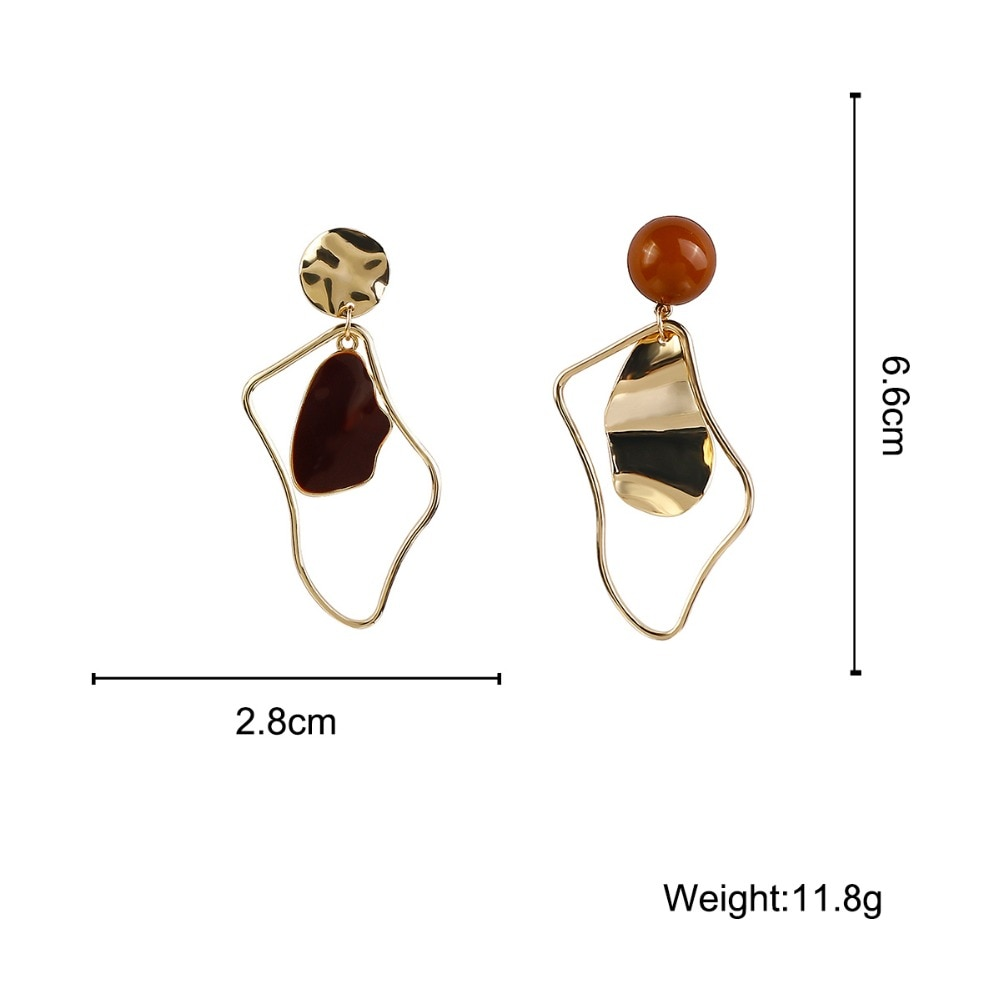 Flashbuy Gold Metal Onregelmatige Drop Oorbellen Voor Vrouwen 2020 Geometrische Verklaring Oorbellen Mode-sieraden Bruiloft Accessoires