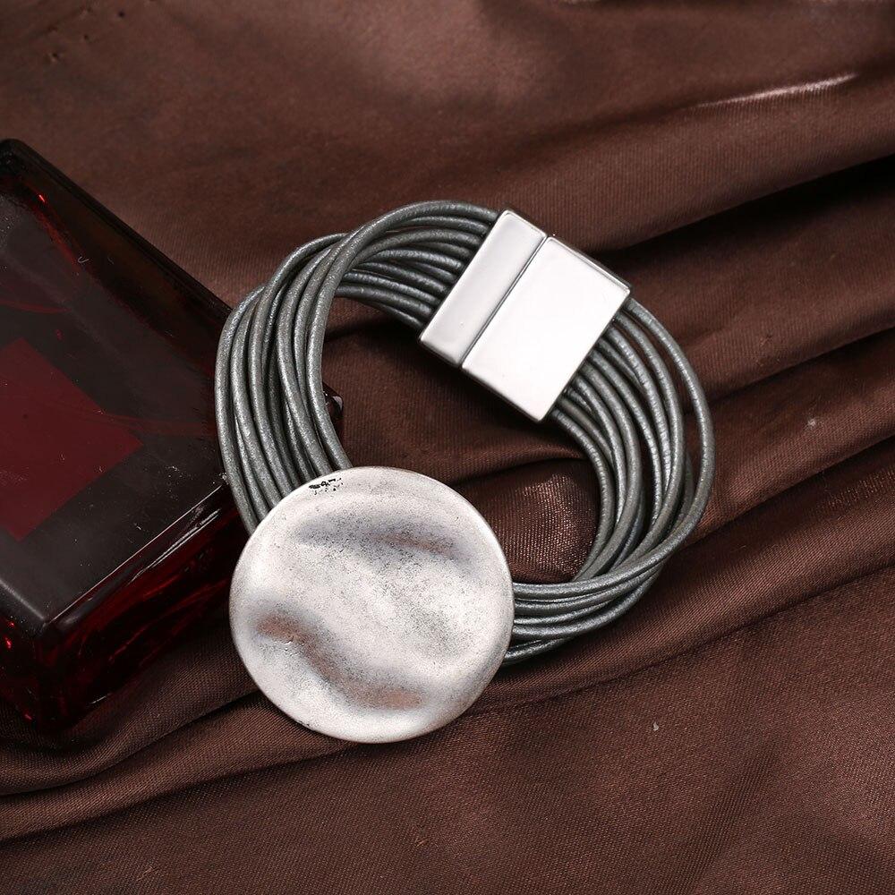 Zilveren Ronde Wave Charm Armband voor Vrouwen Multilayer Lederen Kettingen Magnetische Gesp Ontwerp Braelet Mode Vintage Sieraden 2019