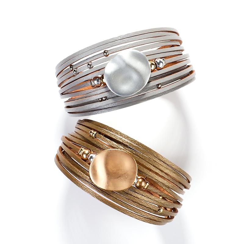 Allyes Gold Ronde Lederen Armbanden Voor Vrouwen 2020 Fashion 14 Strips Boho Multilayer Wide Wrap Armband Femme Sieraden