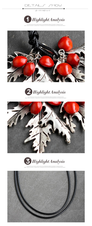 2019 Vintage Lange Kettingen Voor Vrouwen En Mannen Met Handgemaakte Rode Bonen Retro Leaf Gift Lederen Ketting Hanger Ketting Sieraden