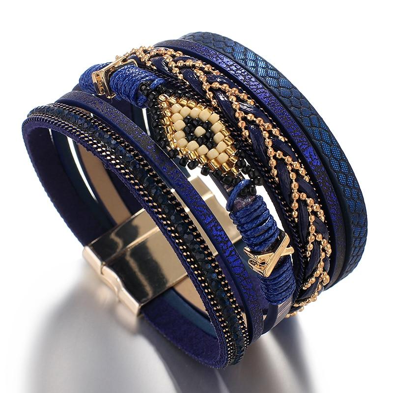Amorcome Miyuki Evil Eye Lederen Armbanden Voor Vrouwen Mode Dames Bohemian Wide Wrap Charm Armband Partij Sieraden Gift