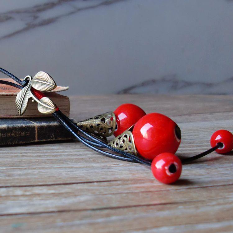 Vintage Handgemaakte Etnische Stijl Trui Keten Sieraden Persoonlijkheid Meisje Vrouwen Accessoires Keramische Kralen Hanger Ketting