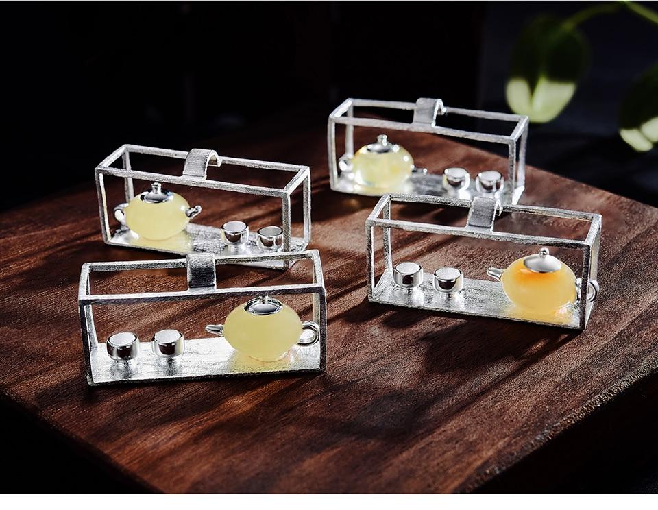 Lotus Plezier Echte 925 Sterling Zilveren Handgemaakte Fijne Sieraden Natuurlijke Amber Originele Theepot Ontwerp Hanger Zonder Ketting Voor Vrouwen