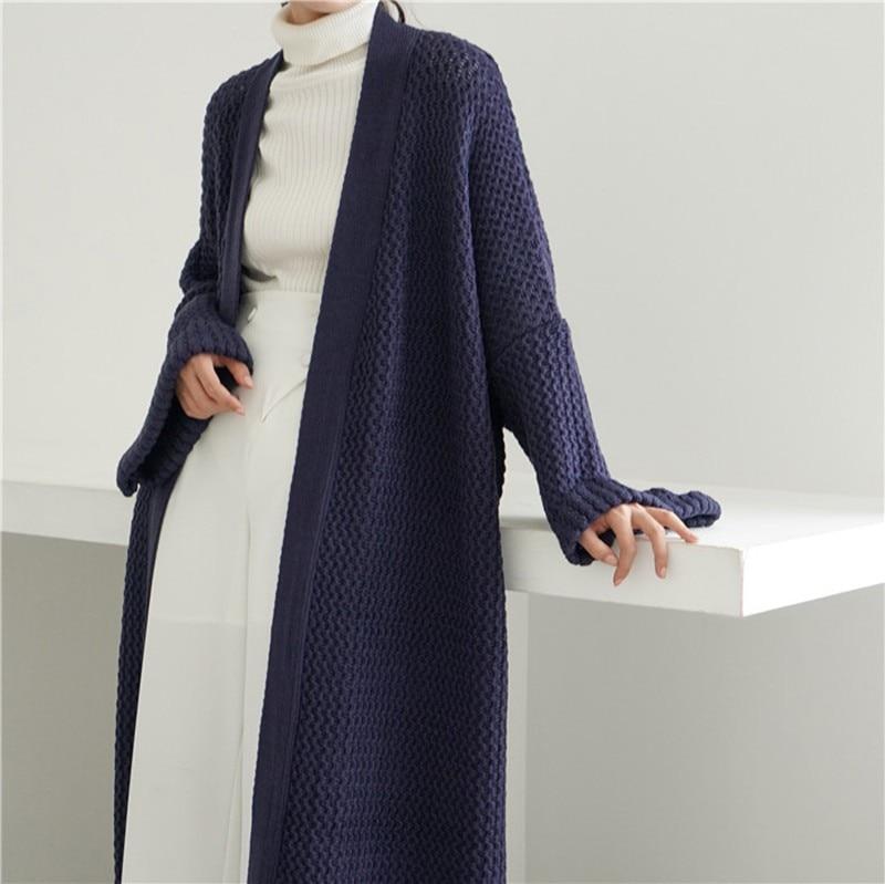 Genayooa Casual Vesten Lange Trui Vrouwen Lange Mouw Gebreid Vest Oversized Effen Losse Vest Jas Vrouwen Koreaanse Winter