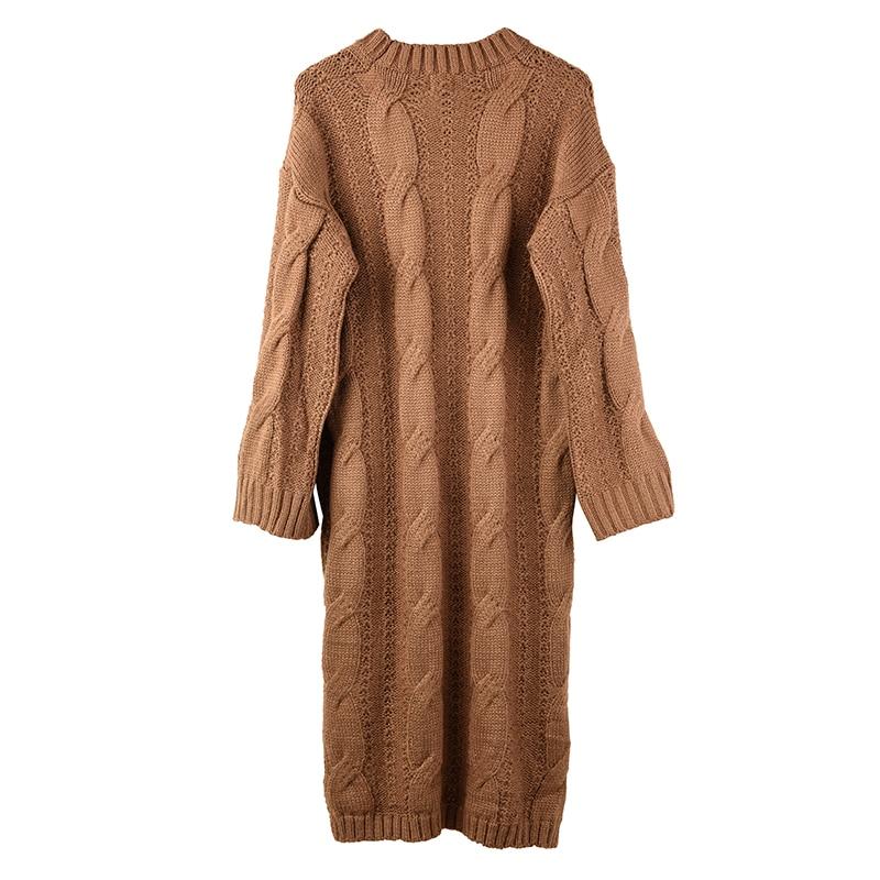 Deat 2020 Nieuwe Herfst En Winter Mode Vrouwen Kleding Knits Trui Vrouw Overlengte Trui Jurk Losse Grote Size WJ82002