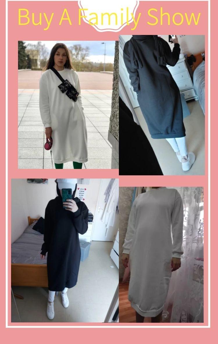 Vrouwen 2020 Herfst Ongedwongen Losse Lange Hoodies Sweatshirt Lange Mouw Kap Jurk Mode Effen Kleur Jurken Femme Vestidos