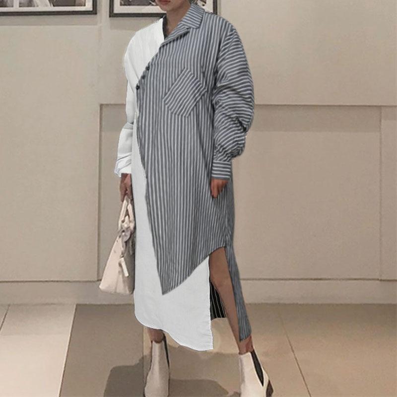 2020 Herfst Mode Gestreepte Jurk Celmia Lange Mouwen Vrouwen Jurken Holiday Casual Losse Patchwork Vestidos Party Plus Size Gewaad