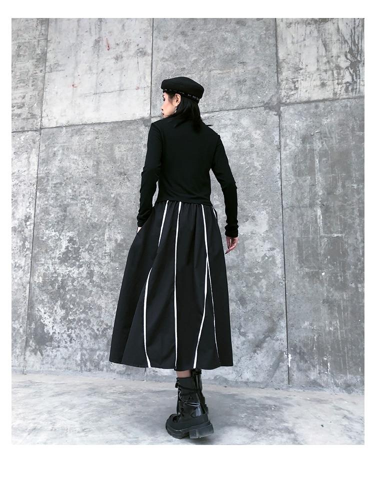 Verticale Streep Rok Vrouwen Plus Size Losse Geplooide Midi Rokken Hoge Elastische A-lijn Bf Zwart Vintage Zakken 2020 Lente Zomer