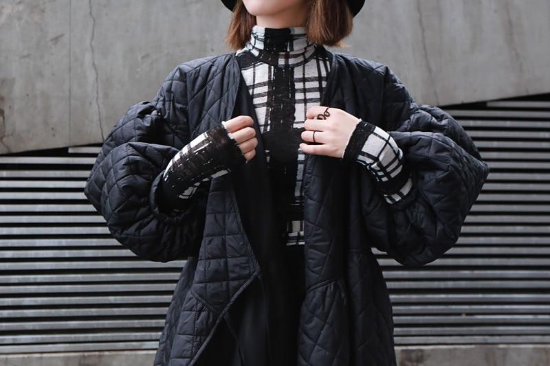 Oversized Winter Argyle Katoenen Jas Vrouwen Vintage Japan Harajuku Stijl Bladerdeeg Mouw Lantaarn Parka Lente Herfst Overjas Bovenkleding
