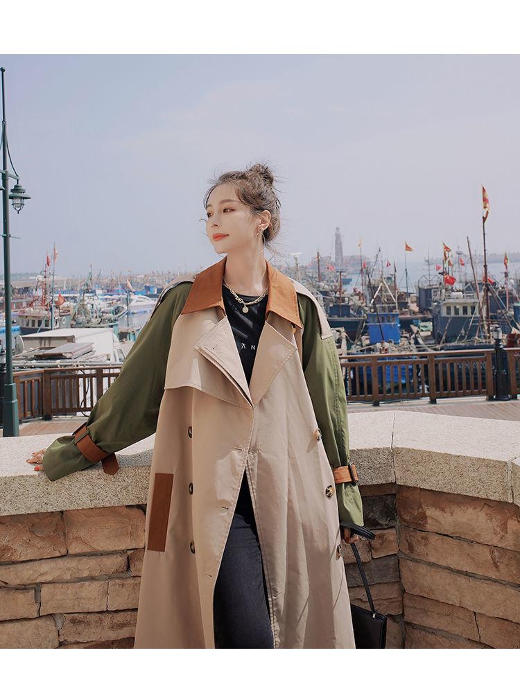Top Vrouwen Casual Effen Kleur Single Breasted Uitloper Mode Sjerpen Kantoor Jas Esthetische Ontwerp Lange Geul Oversize Splicing