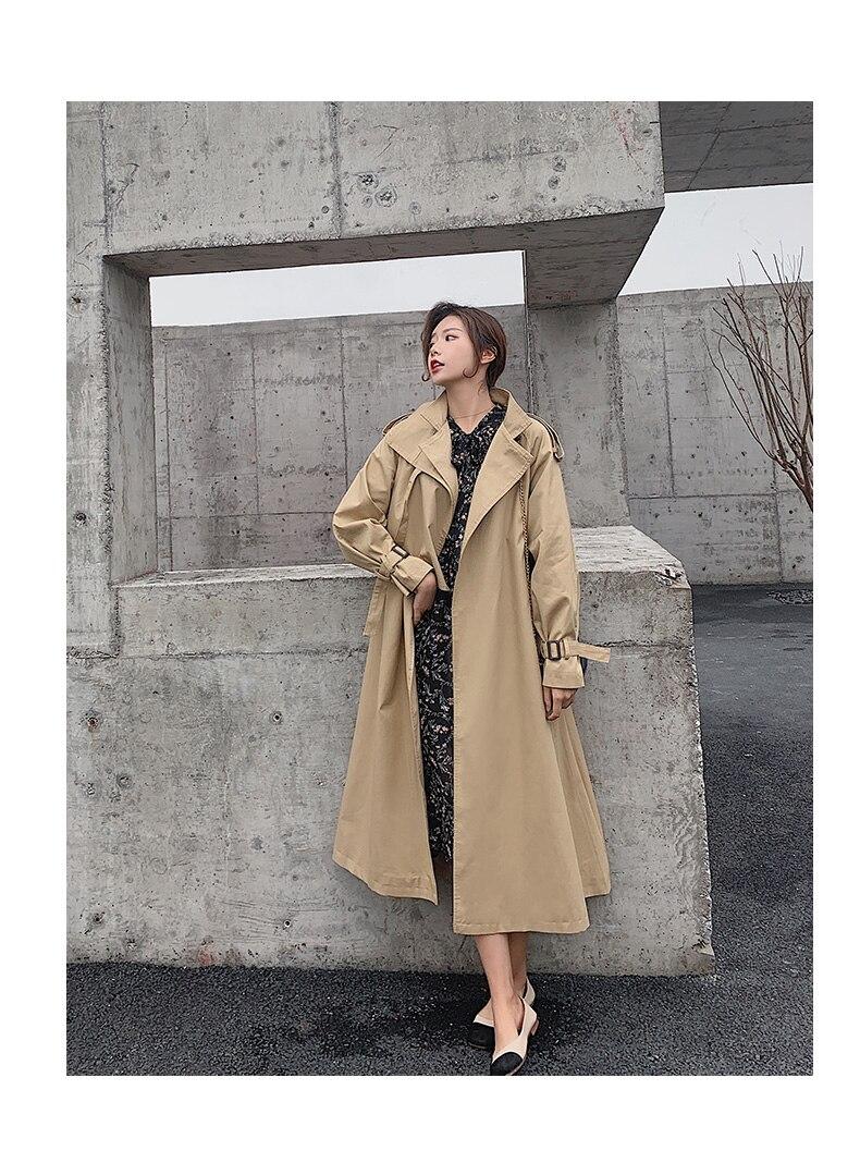 Yosimi 2020 Herfst Winter Losse Volledige Mouw Vrouwen Lange Trenchcoat Lange Bovenkleding A-lijn Kaki Rok Kleding Voor Vrouwen Riem maxi