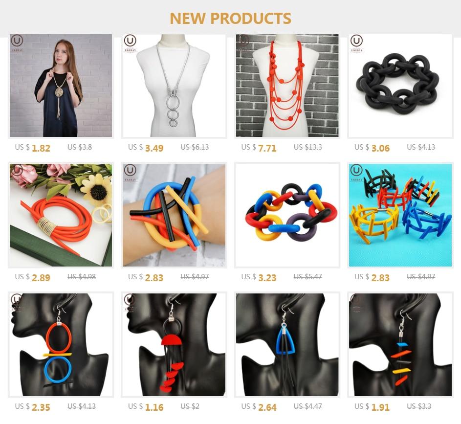 Ukebay Nieuwe Handgemaakte Ontwerp Eenvoudige Kettingen Vrouwen Lange Hanger Ketting Verstelbare Ketting Rubber Sieraden Kleding Accessoires