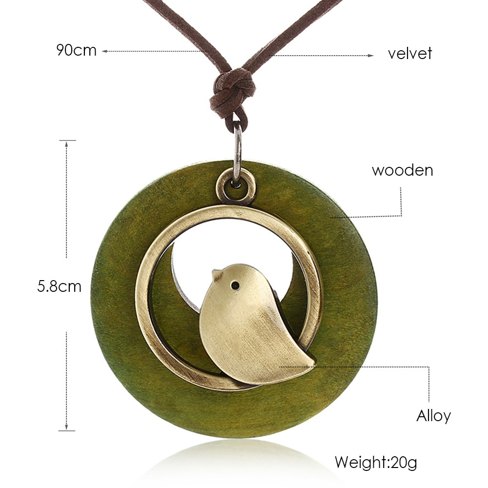 1 Pcs Vrouw Sieraden Verklaring Kettingen Vogel Houten Bead Hanger Vintage Lange Ketting Vrouwen Chrismas Gift