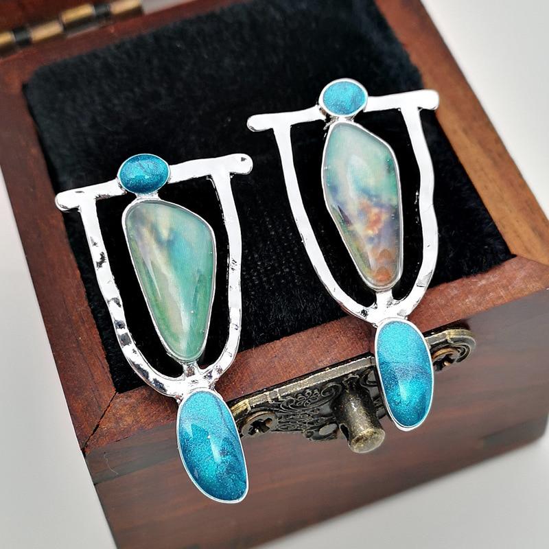 Indian Tribal Persoonlijkheid Natuurlijke Dangle Drop Oorbellen Resin Stone Boho Etnische Vintage Opknoping Oorbellen 2019 Voor Vrouwen N5E680