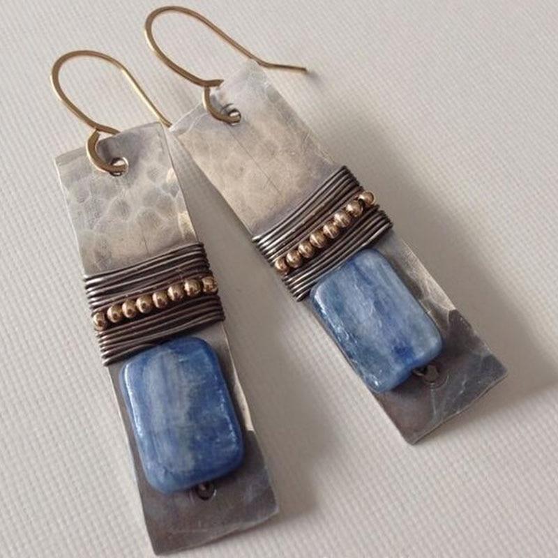 Vintage Pendientes Navy Blue Stone Geometrische Metalen Oorbellen Boho Indian Tribal Vrouwen Opknoping Oorbellen Brincos 2019 Nieuwe Z3Y110