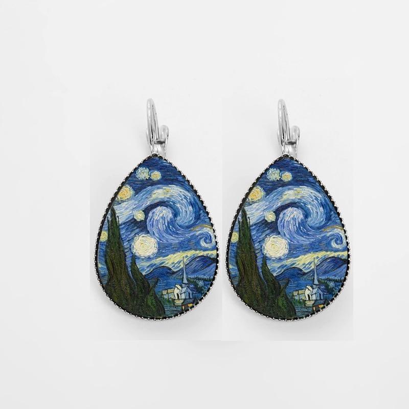 Suteyi Classic Van Gogh Schilderen Teardrop Oorbellen Sieraden Gustav Klimt De Kus Foto Glazen Koepel Water Drop Vrouwen Oorbellen