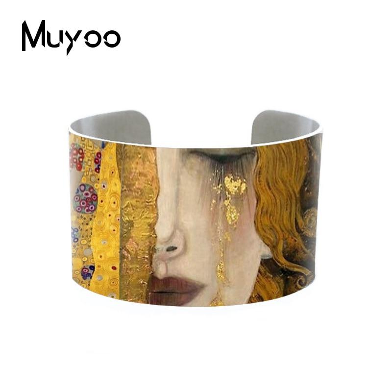 2019 Nieuwe Fashion Gustav Klimt Schilderijen Gouden Tranen Aluminium Manchet Moeder En Kind Sieraden Moeder Love Baby Sieraden Armbanden
