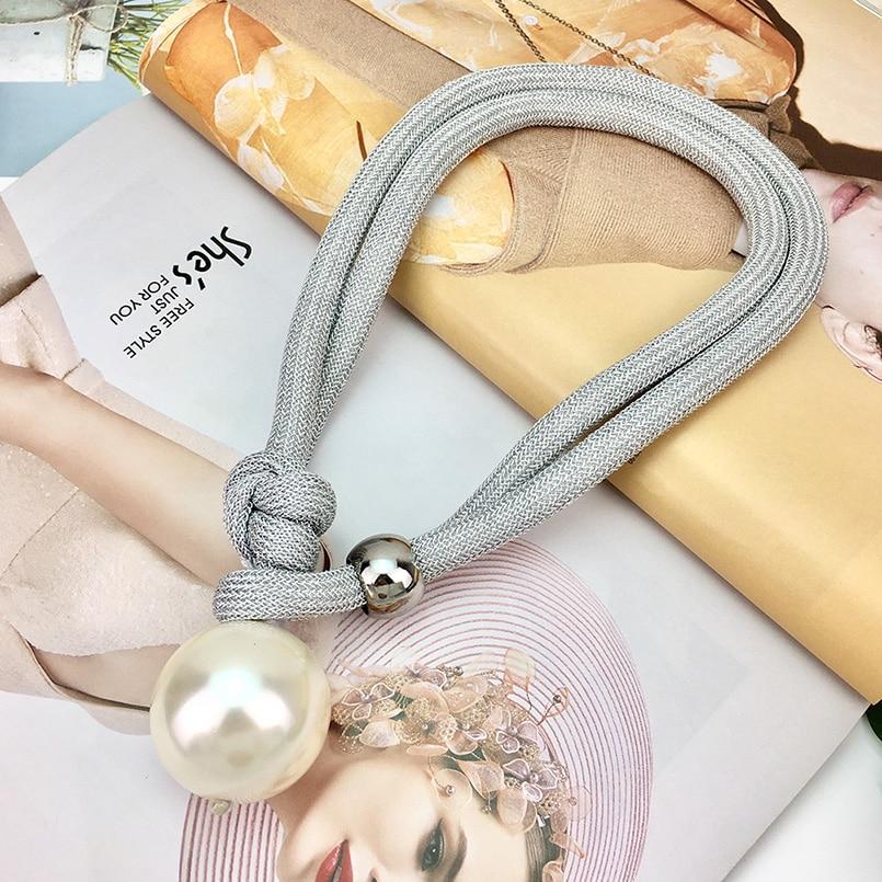 Grote Imitatie Parel Hanger Kettingen Voor Vrouwen Dikke Touw Verstelbare Verklaring Chokers Kettingen Sieraden UKMOC