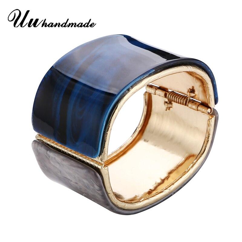 Nieuwe Ontwerp Acryl Legering Manchet Armbanden & Bangles Voor Vrouwen Gladde Open Breedte Charm Bangle Bijoux Mode-sieraden Christmas Gift