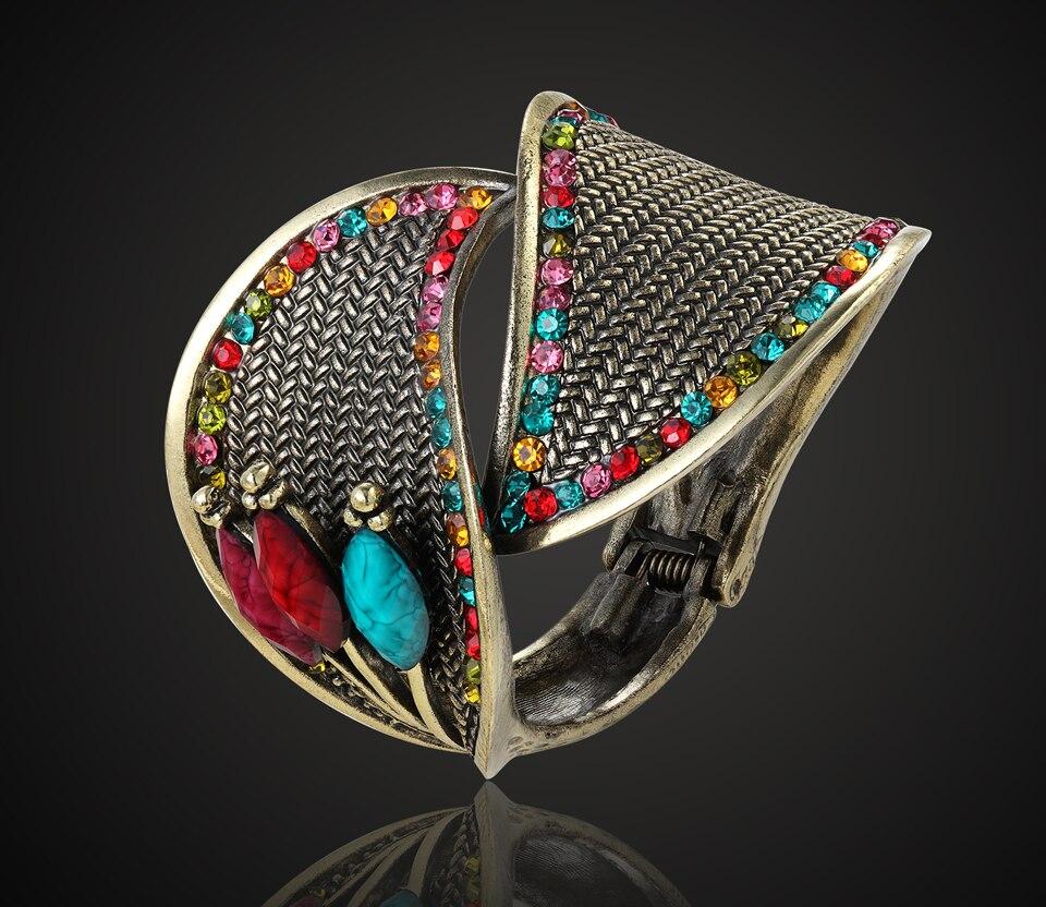 Big Size Turkse Bangles Voor Vrouwen Party Geschenken Perfecte Antiek Goud Kleur Vintage Hars Bangles Kleurrijke Bloem Armband & armband