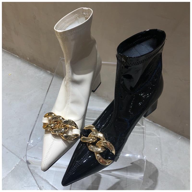 Suojialun 2020 Nieuwe Merk Vrouwen Enkellaars Mode Gouden Ketting Wees Teen Korte Laarzen Slip Op Elastische Chelsea Boot Jurk schoenen