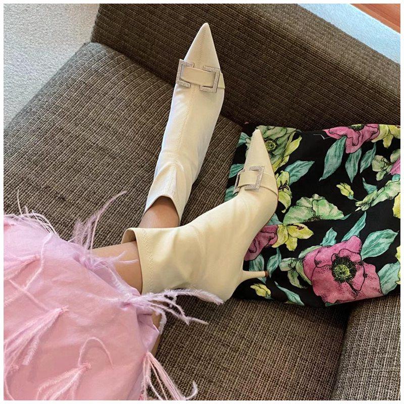 Suojialun Elegante Bling Strass Vrouwen Enkellaars Mode Wees Teen Korte Laarzen Dames Elastische Stof Slip Chelsea Boot