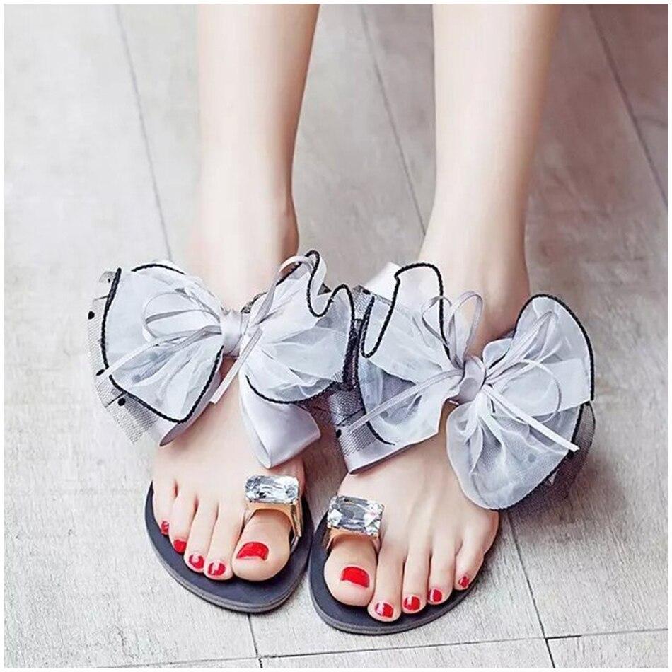 Zomer Bowtie Slipper Flats Sandalen Platform Muilezels Casual Mode Sandalen Strand Slippers Mesh Strand Slides Zapatos De Mujer