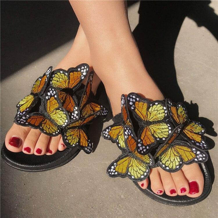 Vrouwen Sandalen Zomer Slippers Platte Platform Vlinder Borduren Peep Toe Casual Slides Vrouwelijke Dames Schoenen Zapatos De Mujer