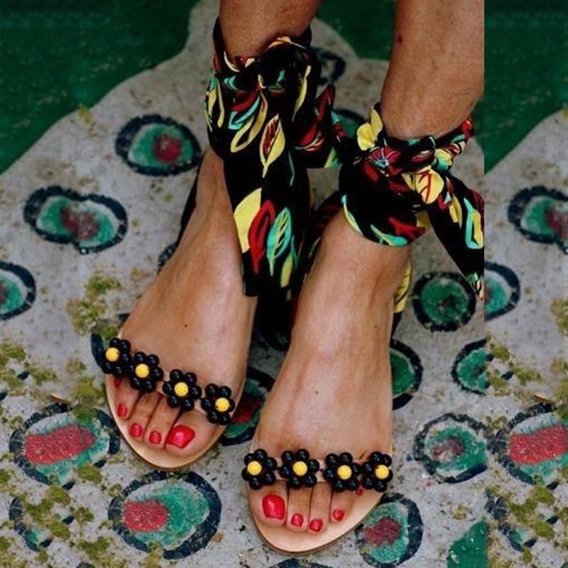 Sandalen Dames Platte sandalen Enkelbandje Kralen Speciale damesschoenen Strandsandalen Plus maat 35-43