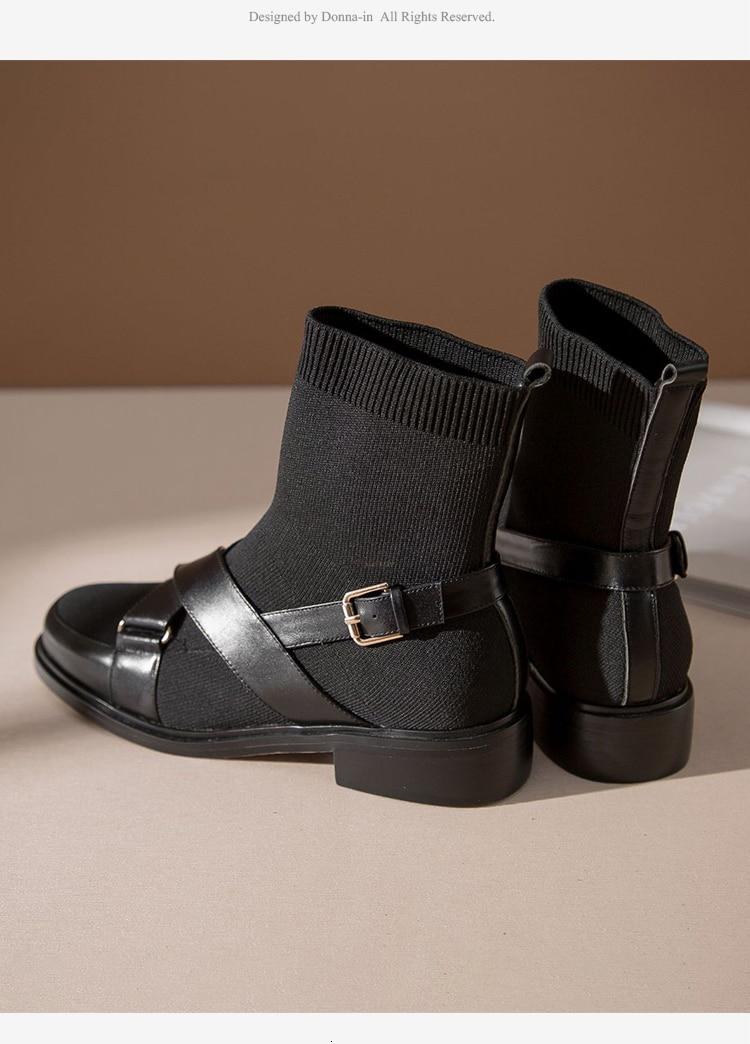 Donna-In Elastische Breien Winter Enkelsok Laarzen Vrouwen Ademend Echt Leer Laarzen Kousen Stretch Slip Op Schoenen Vrouwelijke