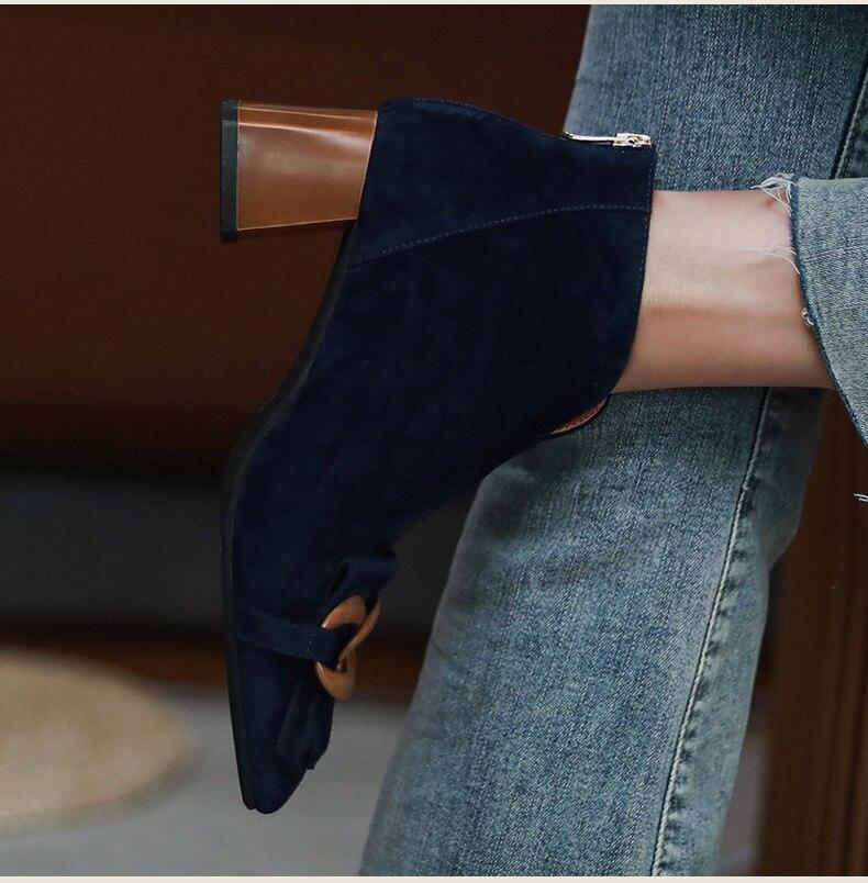 Retro Kwastje Ketting Dikke Hak Korte Laarzen Vrouwelijke Nieuwe Mode Enkel Laarzen Korte Buis Blote Temperament Achter Rits Vrouwen Laarzen