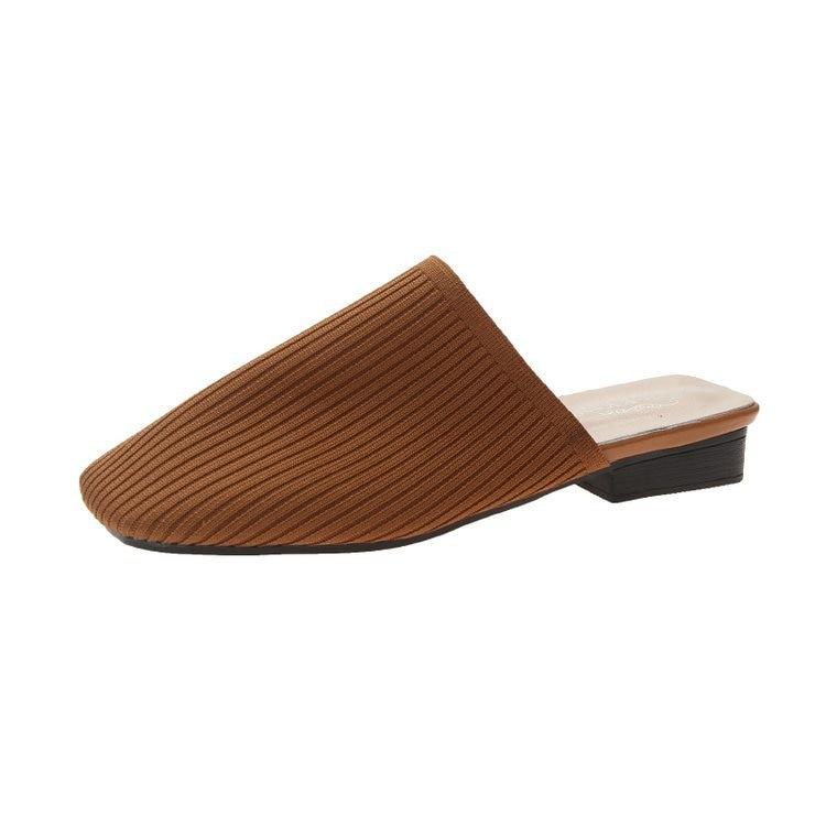 Vrouwen Muilezels Slippers Vrouwen Zomer Herfst Mode Flats Sandalen Jelly Slides Holiday Beach Schoenen Vierkante Hak Vierkante Teen Flats