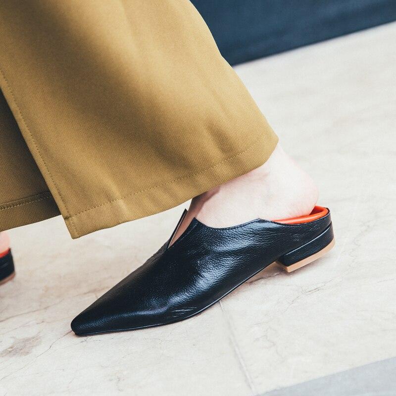 2019 Vrouwen Schoenen Echt Leer Instappers Patchwork Mode Lederen Schoenen voor Vrouwen Vierkante Hak Platte Schoenen Schoeisel Hoge Kwaliteit