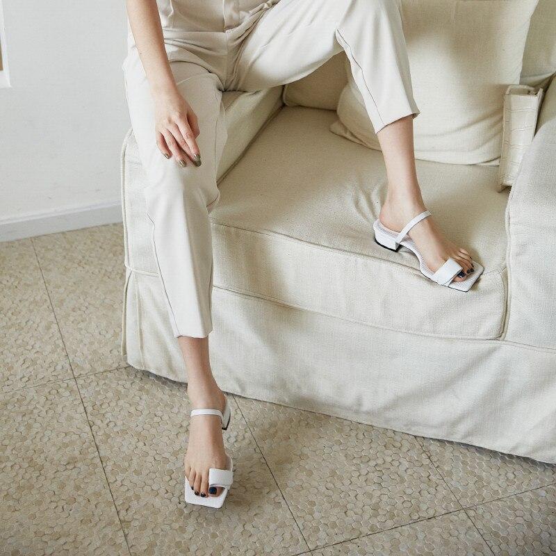 Verconas 2020 Sexy Vrouw Sandalen Vrouw Pompen Vrouw Slippers Lederen Nieuwe Aankomst Vierkante Teen Vierkante Hoge Hakken Schoenen Vrouw