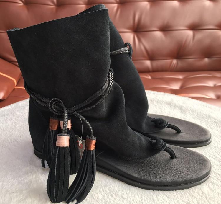 Prova Perfetto Merk Lady Enkellaarsjes Sandaal Schoen Thong Tassel Fringe Bohemen Zomer Etnische Vintage Stijl Gladiator Platte Sandaal