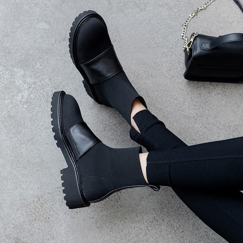 Fedonas Rome Vierkante Hakken Vrouwen Breien Enkellaarsjes Fashion Casual Office Schoenen Vrouw Winter Nieuwste Warme Vrouwelijke Korte Laarzen