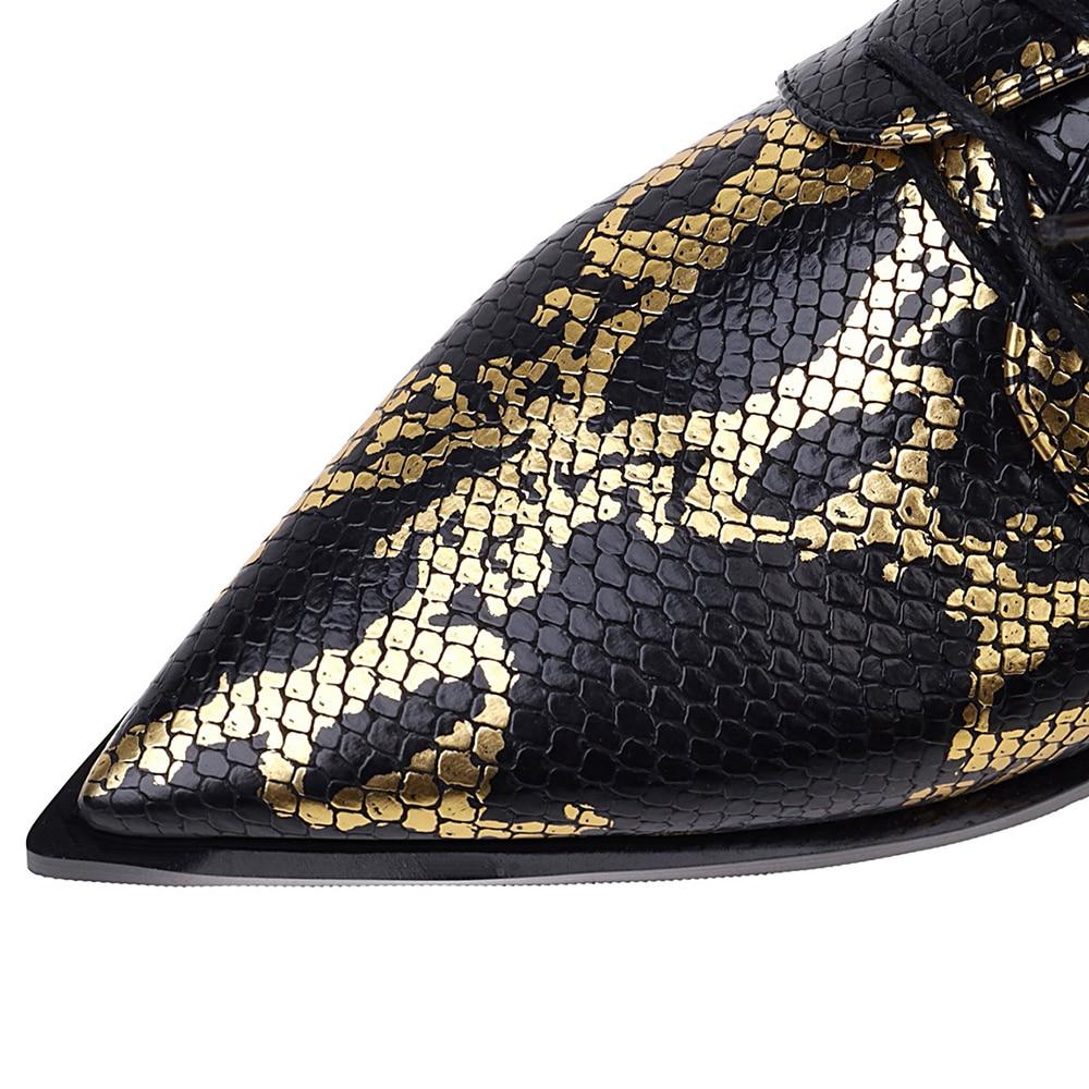 Brogue Vrouw Lente Herfst Flats Snake Print Vrouwen Schoenen Pu Leer Lace-Up Loafers Vrouwelijke Platte Oxford Mujer Grote maat 33-43