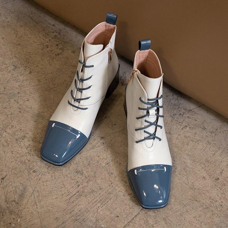 Enkellaars Voor Vrouwen Vierkante Teen Fashion Schoenen 2020 Herfst Winter Nieuwe Korte Laarzen Lace-Up Plein Hakken Comfortabele dame Schoenen