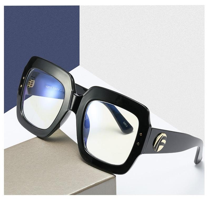 2020 Anti Blauw Licht Oversized Brilmontuur Vrouwen Mode Luxe Merk Vierkante Grote Frame Clear Lens Transparant Frames Vintage