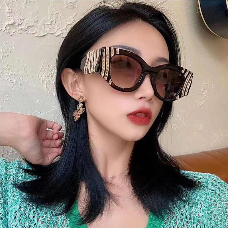 46577 Cat Eye Punk Luxe Zonnebril Mannen Vrouwen Fashion Shades UV400 Vintage Bril