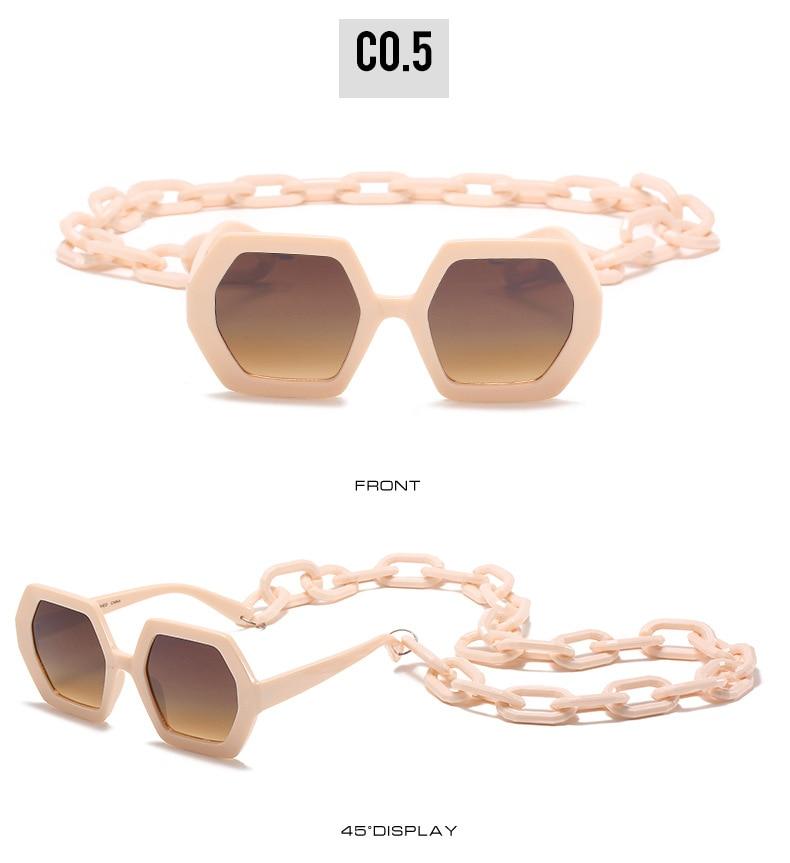 Cool Hexagon Grote Oversized Zonnebril Vrouwen Retro Merk Designer Grote Ketting Zonnebril Vrouwelijke Mannen Ins Populaire Shade Eyewear