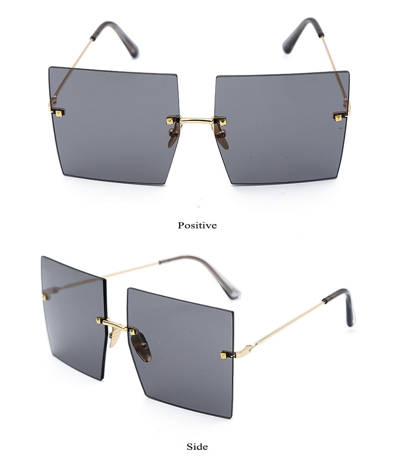 Luxe Merk Dames Blauw Vierkante Zonnebril Vrouwen 2019 Nieuwe Eenvoudige Designer Randloze Oversized Zonnebril Voor Vrouwelijke Gafas UV400