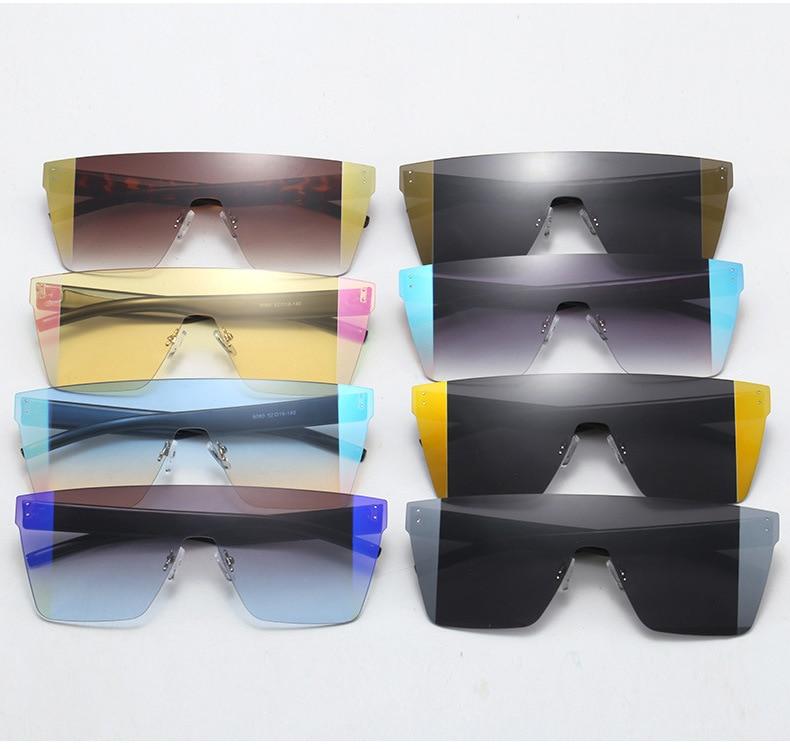 Gifansee Oversized Vierkante Vrouwen Zonnebril Randloze One-Stukken Flat Top Mannen Eyewear Merk Vintage Luxe Designer Uv400 Shades