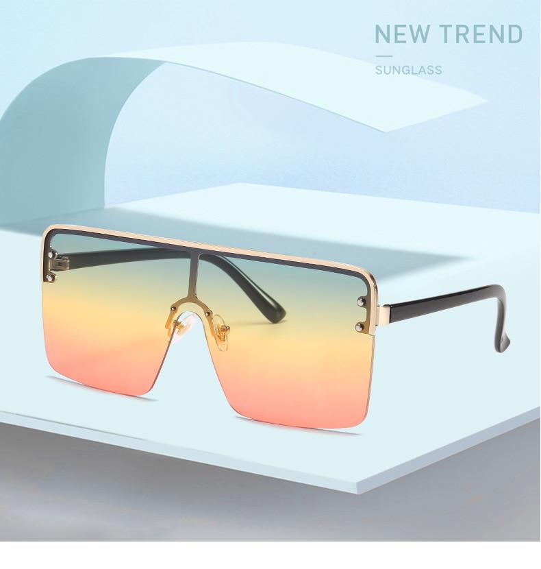 Randloze Zonnebril Fashion Merk Designer Vrouwen Oversized Vierkante Luxe Een Stuk Grote Zonnebril Gradiënt Shades Eyewear Uv400