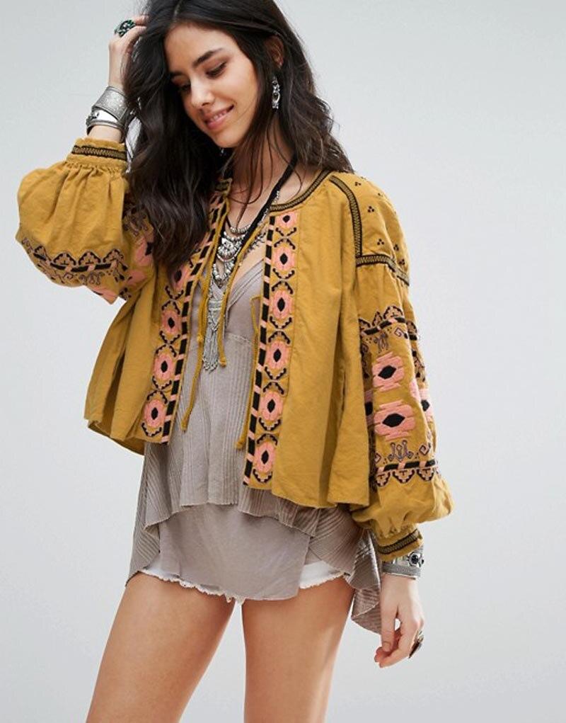 Teelynn Boho Blouse Katoen Bloemen Geborduurde Blouses Kwastje Lange Lantaarn Mouw Losse Casual Hippie Vrouwen Tops Blouse En Shirt