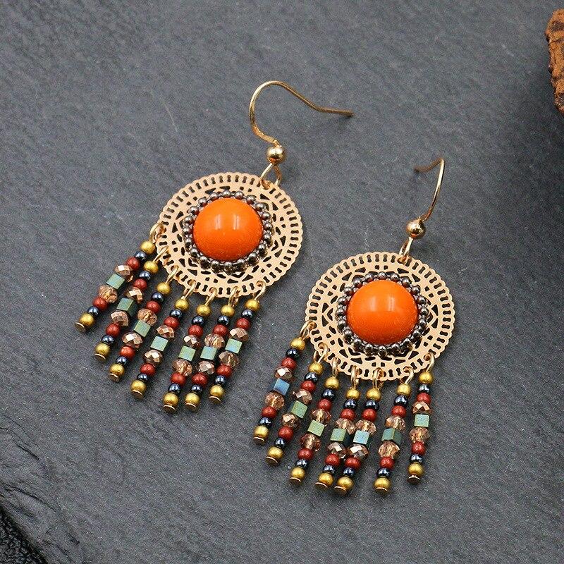 Boho Etnische Lange Kleurrijke Tassel Drop Oorbellen Voor Vrouwen Crystal Acryl Natuurlijke Stonespendant Oorbellen Verklaring Sieraden Geschenken