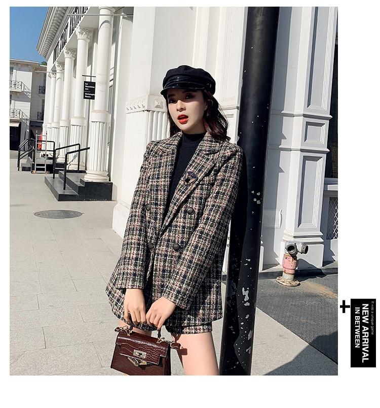 Jxmyy Herfst Winter Hoge Kwaliteit Vrouwen Blazer Shorts Pak Tweed 2 Delige Set Double Breasted Jasje Plaid Wollen Korte Set